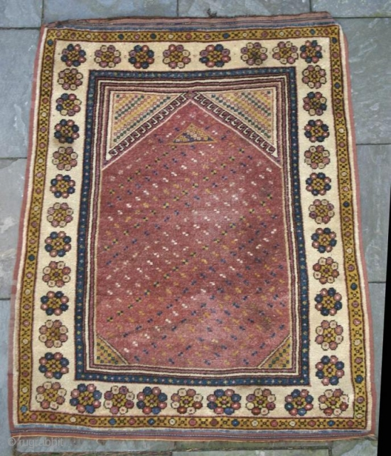 """ANTIQUE MONASTIR PRAYER RUG, Turkish Balkans, circa 1850 Size: 3'6"""" x 4'6"""" Condition / Description: This is a 150 year old prayer rug woven in the Balkans by people of Turkish descent.  ..."""