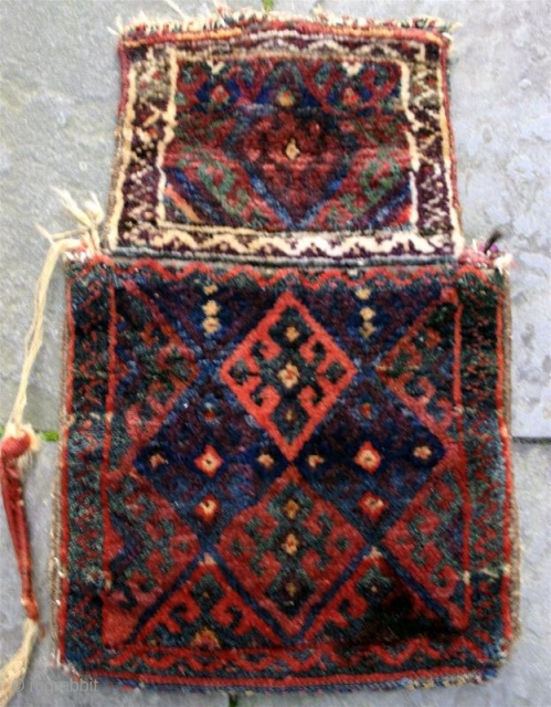 "Antique Jaff Kurd pile salt bag. circa 1900. 23"" x 15"" Good dyes, (especially the purple). Woven in one piece."