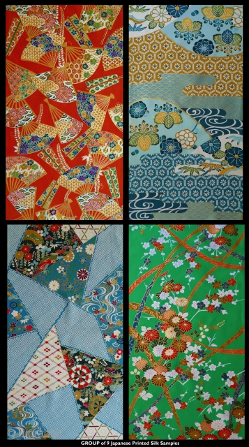 "Group of 9 Japanese Silk Samples for Kimonos. Each 14"" selvedge to selvedge X 26-27"" long. Bought in Japan in the 1970s - probably from the 1960s-70s. These were a kimono fabric  ..."