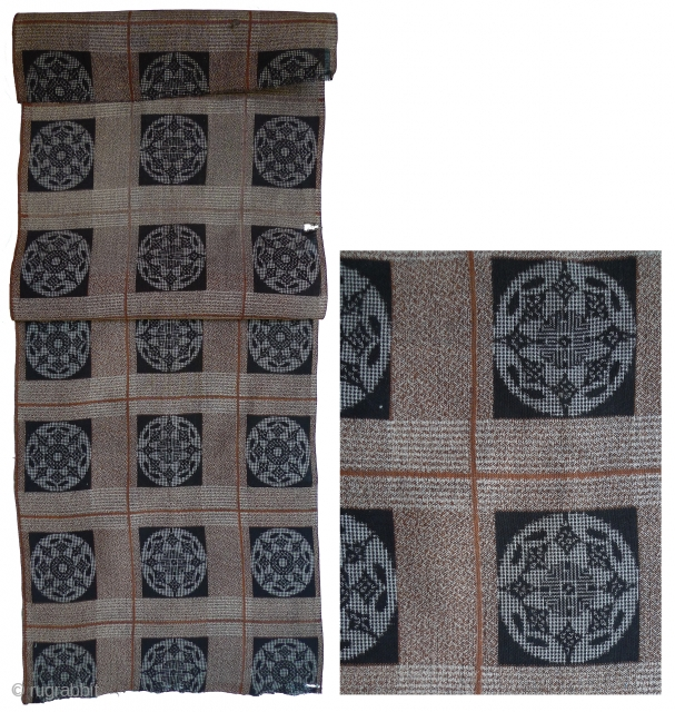 """Old Japanese Woven Cotton Fabric. 41"""" x 13.25"""" selvedge to selvedge. Main image shows it folded. Good condition except for two holes as shown in photo. This fabric is probably machine-woven with  ..."""