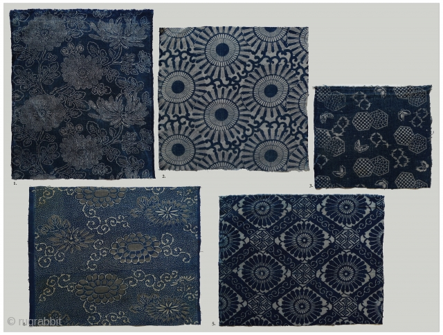 "Group of 5 Old Japanese Indigo-Dyed Hand-woven Cotton Katazome. Assorted sizes: #1 10.75"" x 13.25"" selvedge to selvedge (SOLD); #2 13.25"" x 13.75"" selvedge to selvedge (SOLD); #3 11.75"" x 14.5"" selvedge  ..."