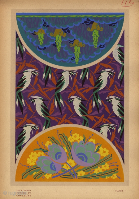 Art Deco Plate 7 from Formes et Couleurs by Auguste H. Thomas. France, c.1922. This is an original pochoir-printed plate on heavy-weight paper from the portfolio, Formes et Couleurs. Complete page is  ...