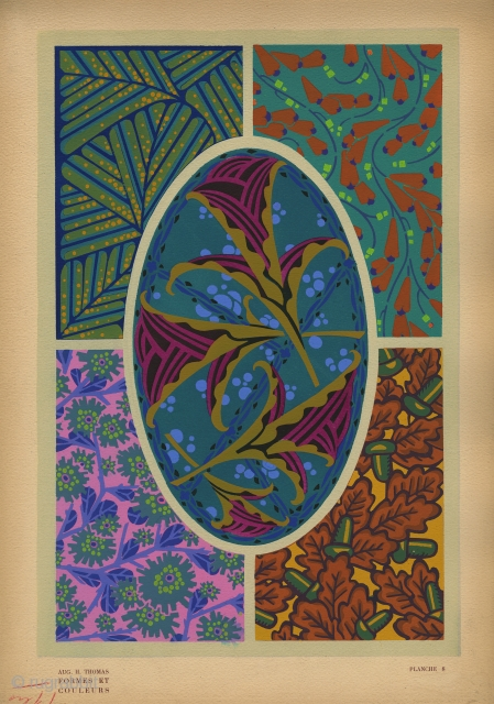 Art Deco Plate 8 from Formes et Couleurs by Auguste H. Thomas. France, c.1922. This is an original pochoir-printed plate on heavy-weight paper from the portfolio, Formes et Couleurs. Complete page is  ...