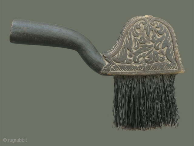 Antique Silk Brush from Cambodia - This unusually shaped brush has different floral carving on each side, and an attractive foliate border along the top edge. A handle extends out to one  ...
