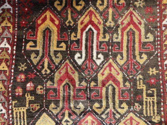 semi-Antique  Kasak  dat. 1937  112 X 187 cm. (  Armenien ? )    , vase  pattern , full  pile ,very soft    stucture ,  ...