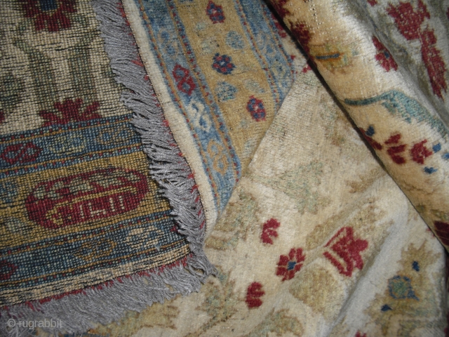 Old Ziegler Carpet - dated 1893 - fragmented condition - moth bites/holes - very soft and glossy wool - freshly washed - piece looks a bit jounger - I have no clue,  ...