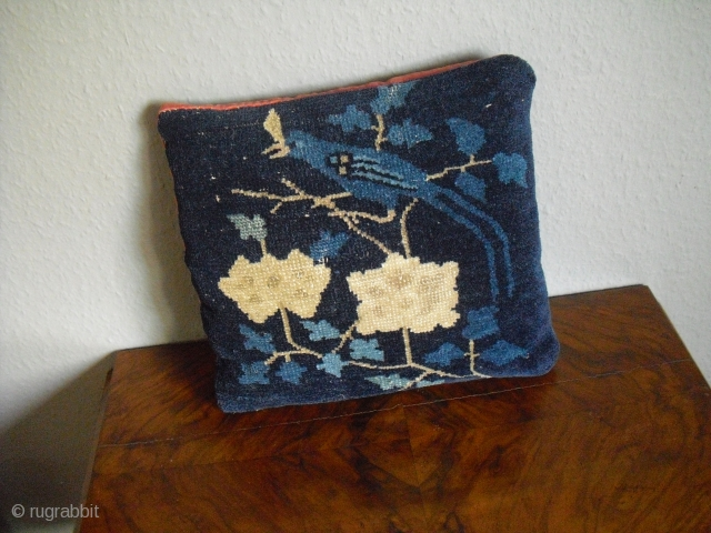 Antique chinese Pillow - good condition - around 1900 - Size: 32 cm x 30 cm, red velvet back - shipping worldwide possible
