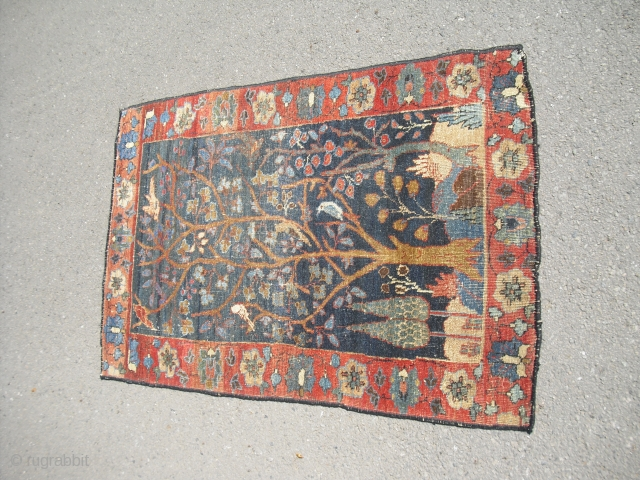 Very rare NW-Persian - maybe Tabriz - small lovely pictorial ru - made around 1860 probably - very clean - great colours - size: approx 76 cm x 122 cm - shipping  ...