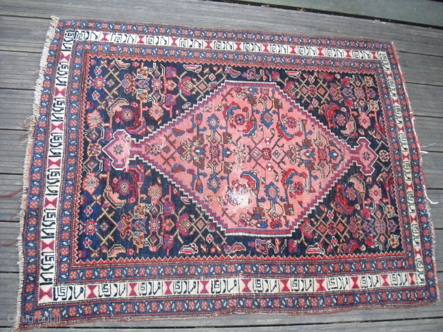 kurdish Bidjar - fragmentary - wool on wool - around 1900 - with damages - professional cleaned - with very rare inscription