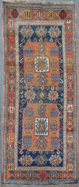 Antique Caucasian Chaili 19th.c. 265 x 106 cm. The carpet needs restoring, several small damages including two holes.