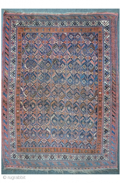 Antique Khamseh, 196 x 142 cm, as found condition with some little damages and one old restoration.