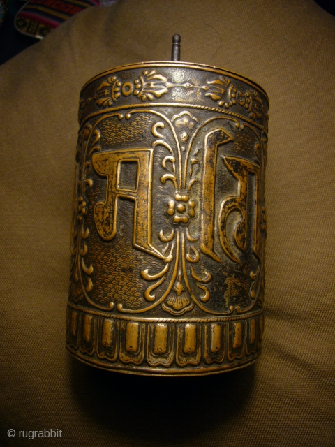 Fine tibetan old Copper Mani prayer wheel,inside old prayer scripts...