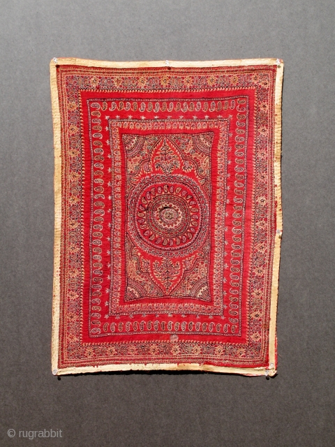 ANTIQUE KASHMIR OR KIRMAN EMBROIDERY 1800-1850 27 x 20 inches.