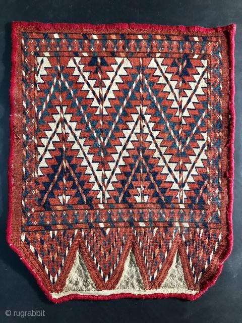 19th century Yomud or Yomut Turkmen Chuval Ok Bash or Uuk Bash.  25 x 21 inches