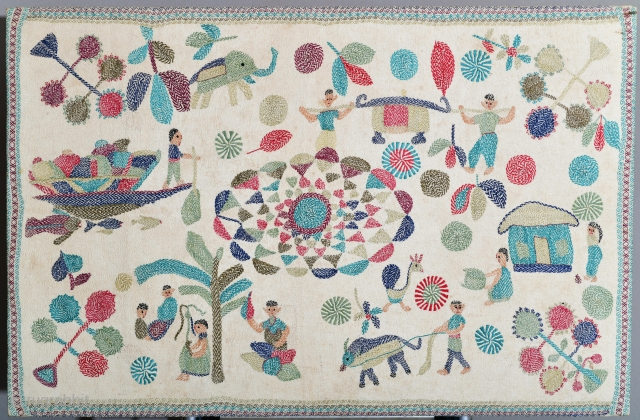 Bangladesh or India Kantha mounted on heavy frame (would need to dismount if shipped internationally).