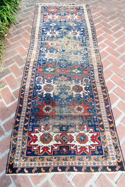 Mid 1800 dated signed Caucasian Star Shirvan runner
