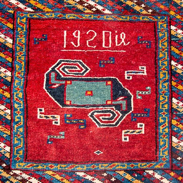 1920 dated inscribed Armenian (Anatolian or Caucasian) pinwheel saddle bags Khorjin - pile not Sumak