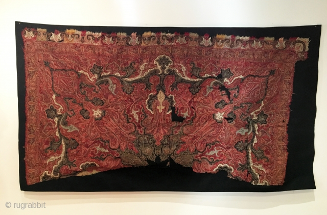 Kashmir Shawl Fragment.  Circa Antique.  67x38.  Mounted on black linen.  Clean and hand washed.