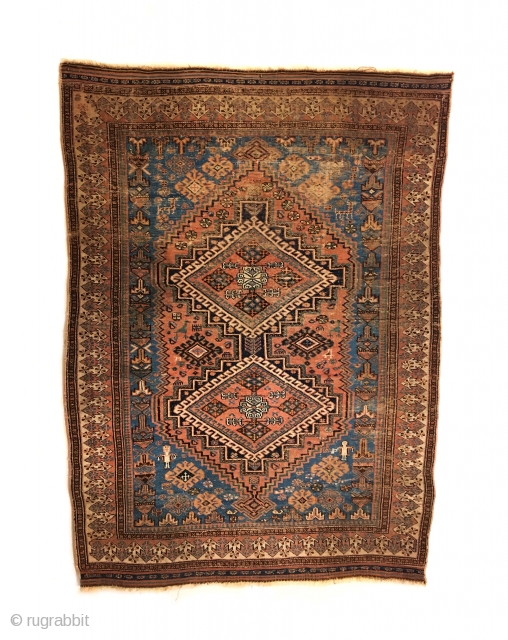 Early Afshar Rug. 2nd Half 19th Century. Two stepped medallions enclose bird head diamonds. In visiting this rug note the saturated colors: Rare light blue, strong green and a rose madder field.  ...