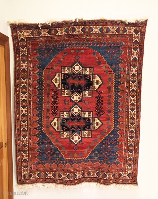 """Antique Afshar Rug. Circa 1900. The design exhibits dual 'ashik tipped' medallions on a saturated madder red field. Mint condition. 9 colors. 4'10"""" x 6'4"""". Delicately hand washed."""
