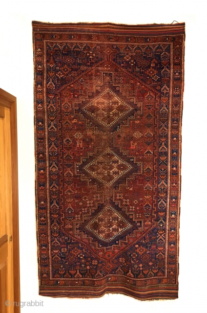 Afshar Rug. Last Quarter 19th Century. A truly tribal piece with 69 birds and animals woven throughout the field. Very fine weave. Great condition considering age. Original four sides. Striped kilim ends.  ...