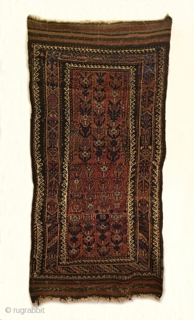 Timuri Baluch Long Rug.  West Afghanistan.  4th Quarter 19th Century.  Outstanding condition for age.  Full pile.  Soft and tribal.  4 cord goat hair selvage.  5  ...