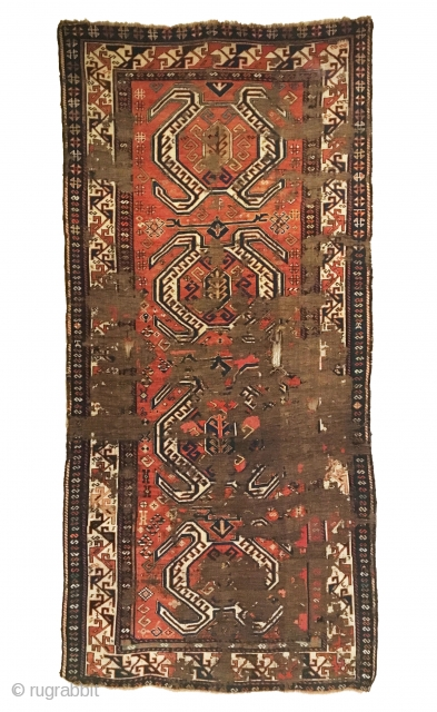Antique Distressed Shahsavan long rug. 2nd Half 19th Century. Lenkoran medallions w/o the in-between St. Andrew cross. Fabulous white ground main border. Chocolatey brown foundation. 4'3 x 9'1. 7 colors. Carefully hand  ...