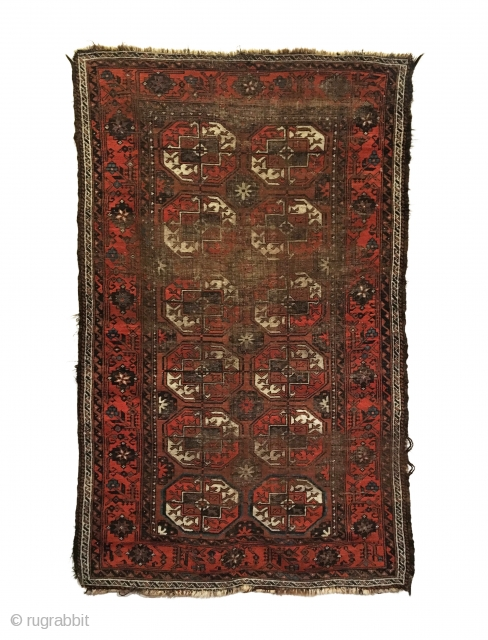 Antique Baluch Rug. Turkmen gols. Early 19th century. Original goat hair selvages, slight loss to ends. Beautiful border with wear to center as shown. 4' x 6'7. 5 colors. Carefully hand washed.