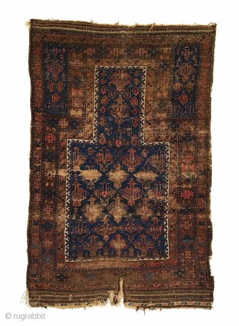 Antique Dokhtar-I-Ghazi Baluch Prayer Rug. Last Quarter 19th Century. Good condition considering age with original sides and selvage. Wear spots to mid field correlates to kneeling wear from prayer. 3'0 x 4'10.  ...