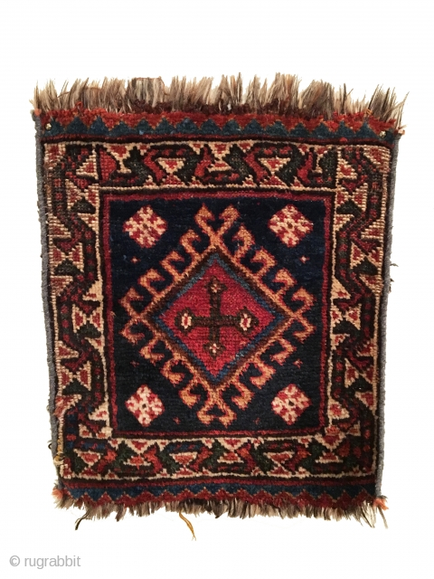 Antique Luri Bagface. Last Quarter 19th Century. 7 colors. 1'6 x 1'10. Carefully hand washed.