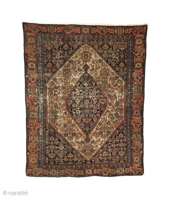 Antique Senneh Rug. 2nd Half 19th Century. Fine weave with even wear. Old resevlaged edges.  10 colors. 2'10 x 3'8. Delicately hand washed.