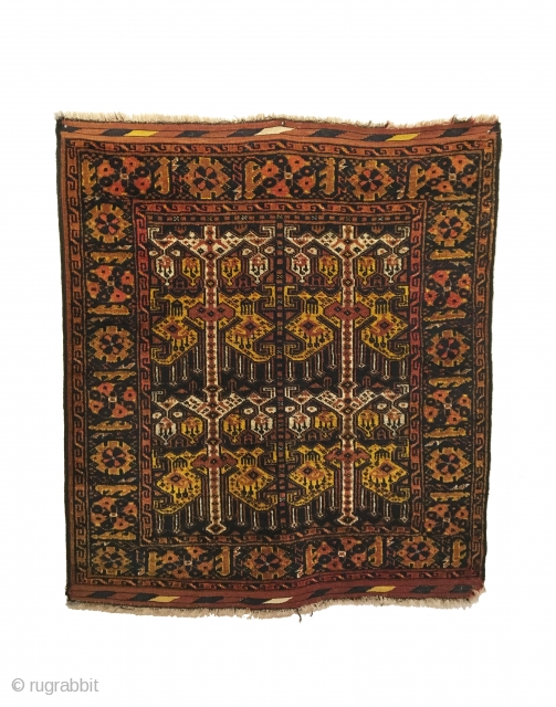Antique Ersari Beshir Khali. Late 19th Century. Ikat design. Excellent condition. 5 colors. 3'5 x 3'11. Carefully hand washed.  For comparison, please see pg. 305, fig. 142, 'Carpets of the People of Central  ...