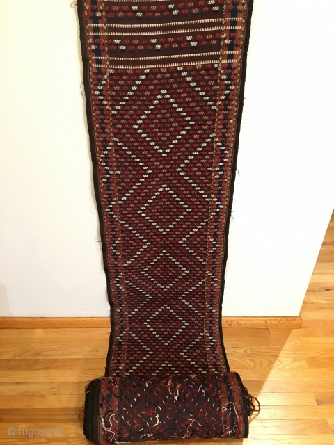 Yomud Flatweave Sumac Tent Band.  Central Asia, Turkmenistan.  Late 19th Century.  Rare purple-brown field.  Mint Condition.  7 colors.  42ft x 1ft 8in.  Clean and hand  ...