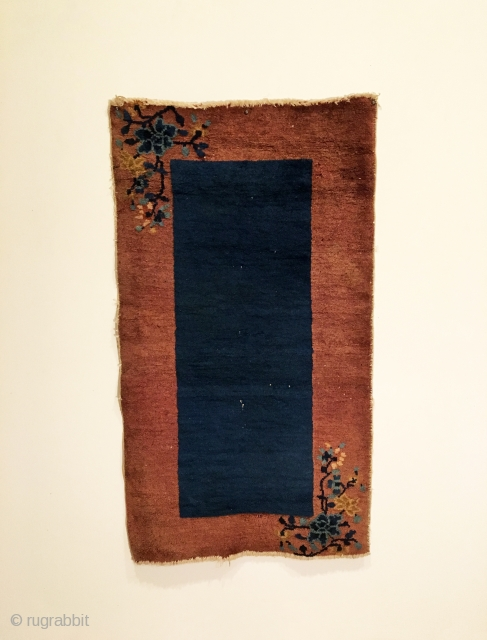 Chinese Art Deco Rug.  First Quarter 20th Century.  Wool on cotton.  Very good condition.  Full pile.  5 colors.  45 x 25in.  Delicately hand washed.