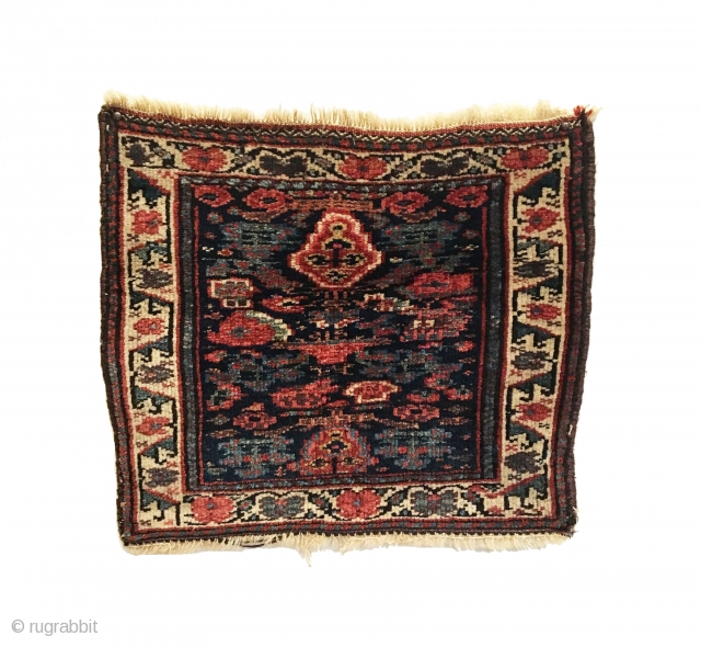 Antique Bidjar Bagface. Early 20th Century. Excellent condition with no repairs. 7 colors including purple. 1'11 x 1'8. Carefully hand washed.