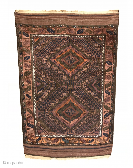 "Antique Baluch Rug. Mushwani Group. 1st Quarter 20th Century. The field consists of radiating latch hooks and features gorgeous kilim ends. Excellent Condition. No repairs. Original goat hair selvage. 8 colors. 5'11""  ..."