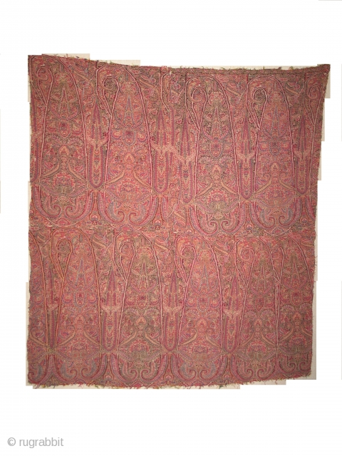 a 19th century antique Kashmir Indian jamawar fragment very rare..colors are very fine.....there is one cut in center otherwise its very nice...!  size 87cmX82cm.