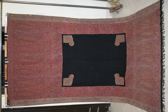 1850th century Kashmir long shawl with multicolours combination.  Condition & colours are amazing.  Approximately 9 feets by 4,5 feets. For more images please do inquire.