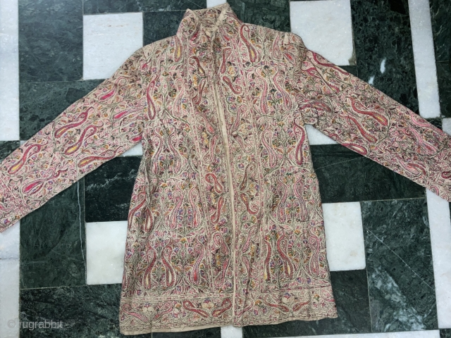 """Antique 19th century Kashmir ( women's jacket ) silk threads embroidery on pashmina""""  Condition & colours are great, please inquiry about size more images etc,"""