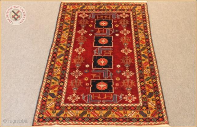 "RG1009 Shirvan Kuba Karagashli rug circa 1920 synthetic pink dye  Very good condition Size : 1.60m x 0.99m  5`3"" x 3`3"" SOLD!"