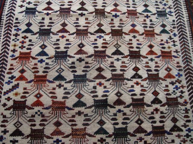 "Antique Baluch rug , 3'6"" X 6'11"", Ivory background, circa 1860-1880's,"