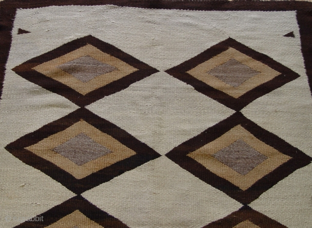 "Antique Native American Navajo Indian hand Made Wool, size is 4'x 5'9""ft. very good condition however, please refer to the photographs to best illustrate the quality and condition of the piece, the  ..."
