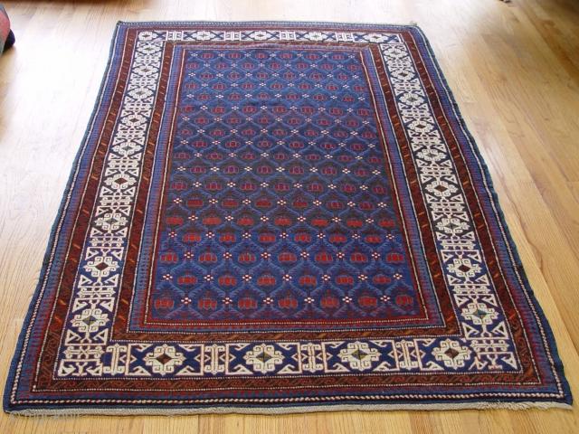 """Antique Kuba Caucasian rug, 4'4"""" X 6'9 , circa 1880"""