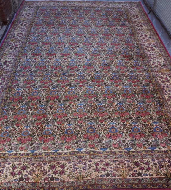 """Antique Persian Lavar Kerman oriental rug,ca. 1900-1910 , measures 10'8"""" x 17'2"""" (326 x 524 cm.), wonderful original condition, medium to low pile, no wears, sides and both ends are intact, professionally  ..."""