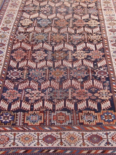 "Antique Persian Qashqai tribal rug, circa 1880's or older, 5'6"" x 10'4""  ft. blue background, some minor areas of lower pile, no restorations."