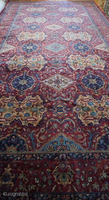 Antique Agra from India ca. 1920 , Palace Size: 13'x 26'ft. excellent original condition, hand knotted, Wool pile, hand washed and cleaned professionally just recently, gorgeous colors and design.