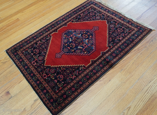 "Antique Kurdish Senneh oriental rug, 2'3"" x 3'3"" (69 x 99 cm.), ca. 1920s-1900s, excellent original condition, has been hand washed and cleaned professionally just recently."