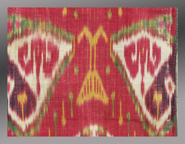 """Detail - Uzbek Ikat Panel, mid 19th Century, 1' x 2'3""""  Please inquire for further images and information"""