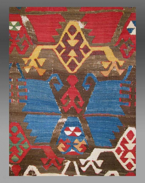 """Anatolian Kilim (fragment), central Anatolia, 18th C., 2'11"""" x 7'3""""   The field pattern seen in this kilim lies at the source of the debate concerning the design origins.   The ongoing debate  ..."""