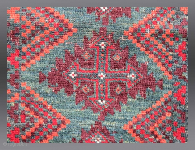 """Baluch Balisht, SE Persia, 19th C. 1'8"""" x 2' 10"""" (including kilim ends)  Balisht are originally conceived as 'pillow covers', made for  dowry to celebrate the marriage of a young woman.   ..."""